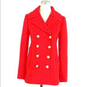 J-Crew size 14 CLASSIC RED Wool Pea Coat